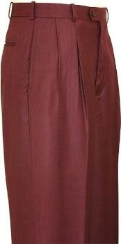 Wine Wide Leg Slacks Pleated