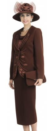 WO-140 Wo 3 Piece Dress Set brown color shade