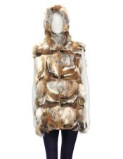 Product#GD850FurRedGenuineFox3/4VestFrontZipper