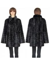 GD781 Fur Black Genuine Mink Paws 3/4 Coat Insulated