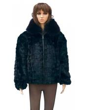 GD774 Fur Black Genuine Mink With Fox Collar Two