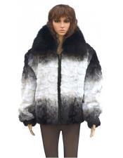GD773 Fur Black / White Diamond Mink Jacket With