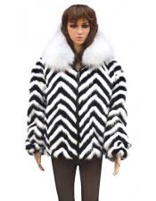 GD806 Fur Chevron Mink Black & White Fox Collar