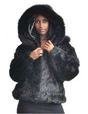 GD784 Fur Black Pieces Genuine Mink Pull Up Zipper