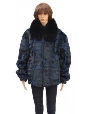 GD786 Fur Blue Sheared Genuine Mink With Collar Jacket