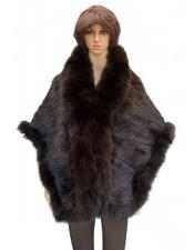 GD791 Fur Brown Genuine Knitted Mink Cape With Fox
