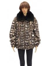GD794 Fur Brown Sheared Genuine Mink Jacket With Fox