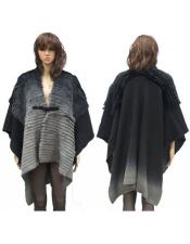 GD824 Fur Grey Genuine Cape With Rabbit Trimming