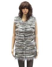 GD828 Fur Grey Genuine Rabbit 3/4 Vest
