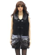 GD835 Fur Genuine Mink Natural Knitted Vest With Silver