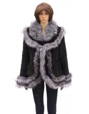 Product#GD778FurSilverFoxTrimmingBlackGenuineKnittedMink