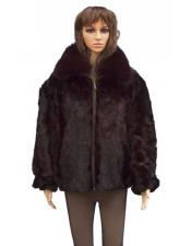 GD805 Fur Pull Up Zipper Mink With Fox Collar