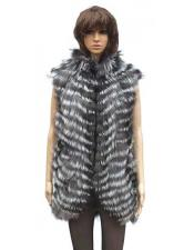 GD804 Handmade Fox Vest in Natural Silver Fox Color