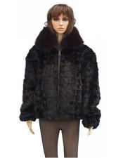 GD796 Handmade Fur Burgundy Genuine Mink Jacket With Fox