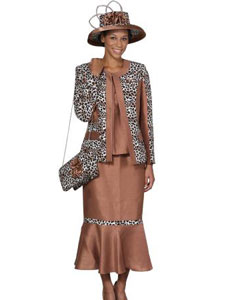 WO-101 Wo 3 Piece Dress Set Camel ~ Khaki/Print