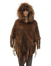 GD861 Fur Genuine Knitted Mink Poncho Whiskey Jacket