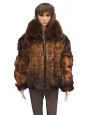 GD857 Fur Genuine Mink Whiskey Fox Collar Pull Up
