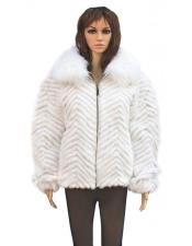 GD841 Fur Natural White Chevron Mink Jacket With Genuine