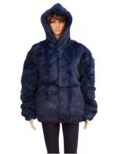 GD843 Fur Navy Blue Full Skin Genuine Rabbit Jacket