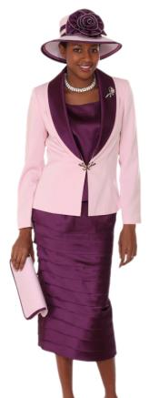 WO-128 Women 3 Piece Dress Set Pink/Phlox