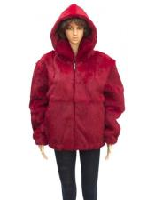 GD852 Fur Full Skin Genuine Rabbit Red Jacket