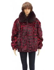 GD853 Fur Red Sheared Genuine Mink With Fox Collar