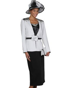 WO-102 Wo 3 Piece Dress Set Silver/Black