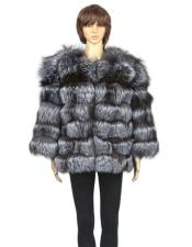 GD840 Fur Silver Genuine Fox Pull Up Zipper Jacket