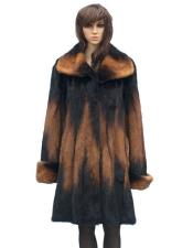 GD858 Fur Genuine Mink Whiskey Full Skin 3/4 Coat