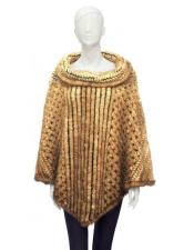 GD860 Fur Whiskey Genuine Knitted Mink Poncho Jacket
