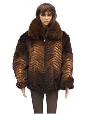 GD856 Fur Whiskey Genuine Mink Fox Collar Jacket
