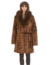 GD862 Fur Whiskey Mink Front Paws 3/4 Coat With