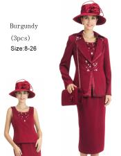 WO-142 Women 3 Piece Dress Set Burgundy ~ Maroon