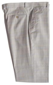 JA324 Mens Wool Pinstripe Designed Flat Front Stone Pant