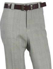 JA322 Mens Wool Tartan Designed Flat Front Green Pant