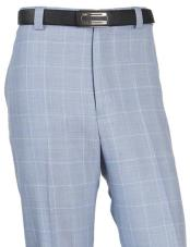 JA323 Mens Wool WindowPane Designed Flat Front Blue Pant