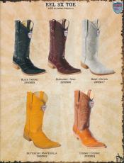 RD23 3X-Toe Genuine Eel Diff Colors/Sizes Cowboy Western Boots