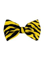 SM4619 Mens Yellow and Black Zebra Pattern Design Bow