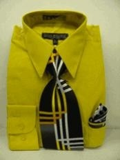 LZ9382 Gold~Yellow~Mustard Dress Shirt Tie Set