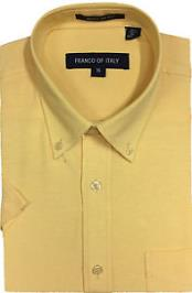 Men's Yellow Basic Button Down