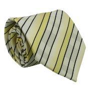 KA6334 Yellow Striped Neck Tie and Handkerchief Set