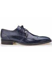 SD110 Mens Belvedere Karmelo Tassel Laces Genuine Navy Lizard
