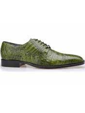 SD112 Belvedere Marcello Emerald Green Genuine Crocodile Cap Toe