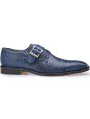SD116 Mens Belvedere Otto Genuine Antique Navy Lizard Monk