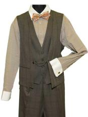 1Button Brown Double Vest
