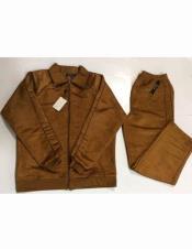 JSM-1543 Mens Fashion Suede Feel Long Sleeve Tobacco 100%