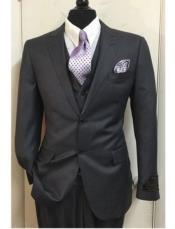 JSM-1578 Mens Tiglio Lux 3 Piece Charcoal Grey Suit