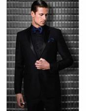 JSM-1585 Mens Tiglio 2 Button Slim Fit Black Wool