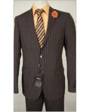 JSM-1831 Tiglio Slim Fit Stripe Wool Dress Brown Suit