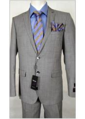 JSM-1838 Tiglio Light Grey/Blue Slim Fit Stripe Suit